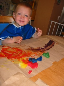 Fingerpainting with the Rainbow bag mixture