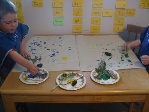 Painting with nature! (Sticks, pine branches, pine cones, dandelions, etc.)