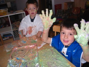Step 4: Kids used it for fingerpainting, too.  This is our friend on the right who visited us today.